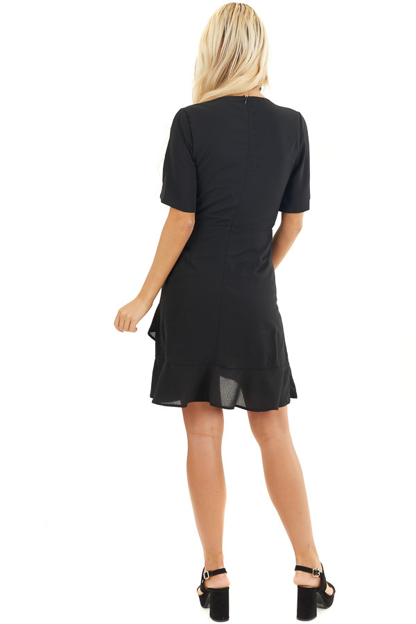 Black Surplice Mini Dress with Short Sleeves back full body
