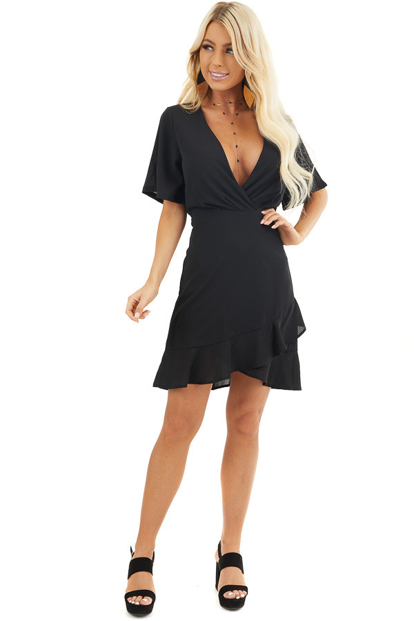 Black Surplice Mini Dress with Short Sleeves front full body