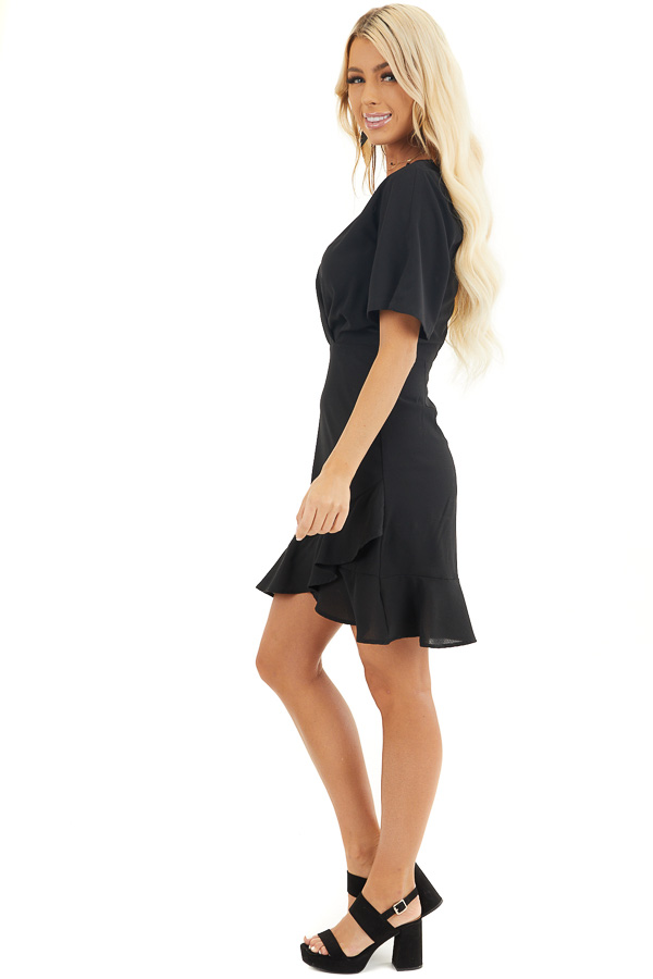 Black Surplice Mini Dress with Short Sleeves side full body