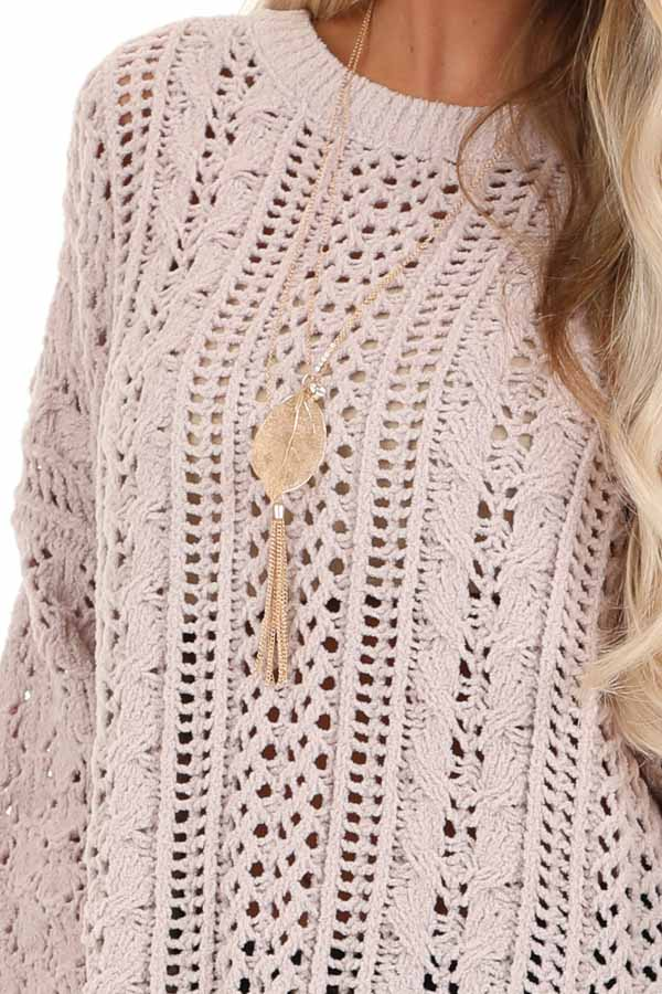 Beige Cable Knit Sweater with Long Sleeves detail