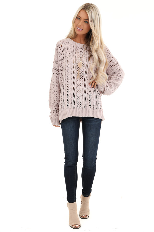 Beige Cable Knit Sweater with Long Sleeves front full body