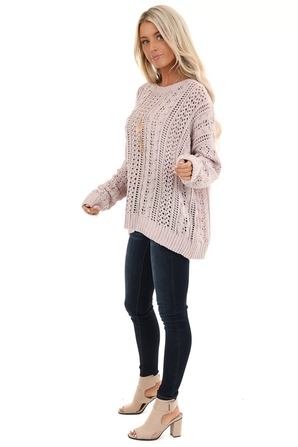 Beige Cable Knit Sweater with Long Sleeves side full body