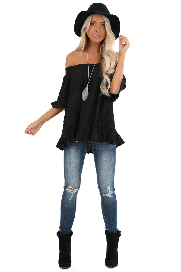 Black Off the Shoulder Top with Ruffle Details front full body