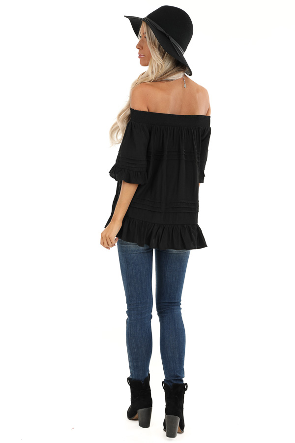 Black Off the Shoulder Top with Ruffle Details back full body