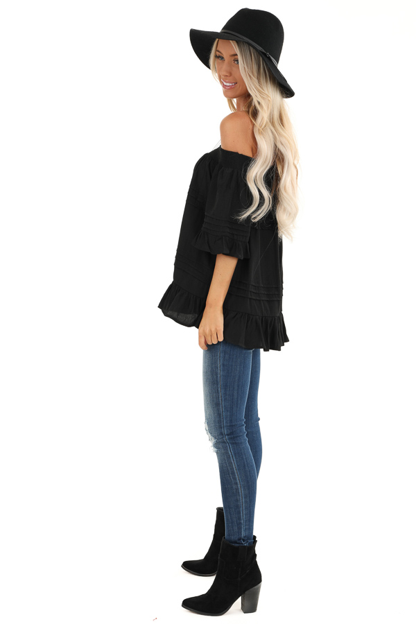 Black Off the Shoulder Top with Ruffle Details side full body