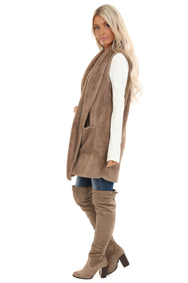 Camel Brown Faux Fur Vest with Pockets side full body