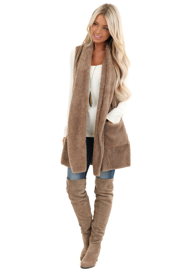 Camel Brown Faux Fur Vest with Pockets front full body