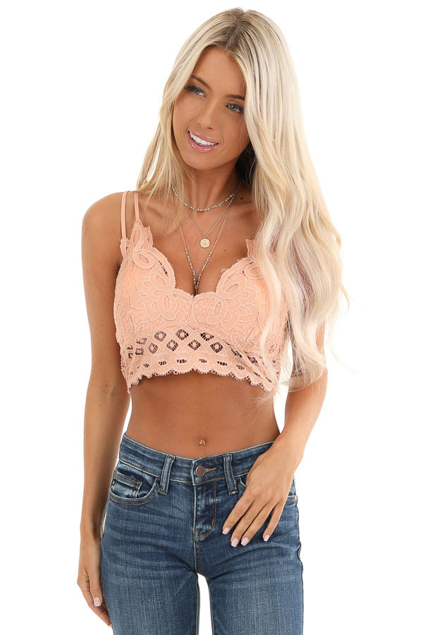 Peach Floral Lace Bralette with Criss Cross Straps front view