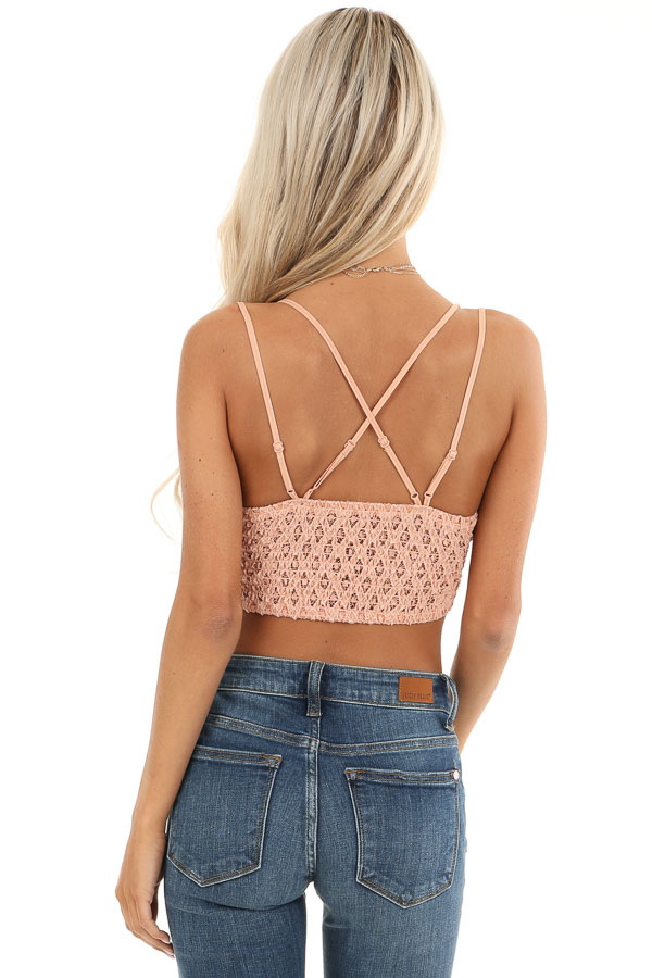 Peach Floral Lace Bralette with Criss Cross Straps back view