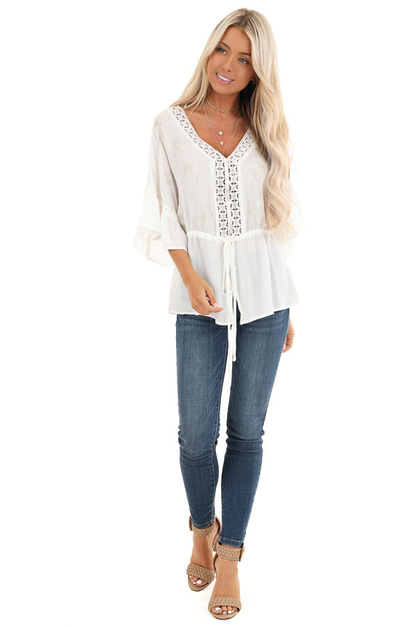 Pearl 3/4 Sleeve Peasant Top with Lace and Embroidery Detail front full body