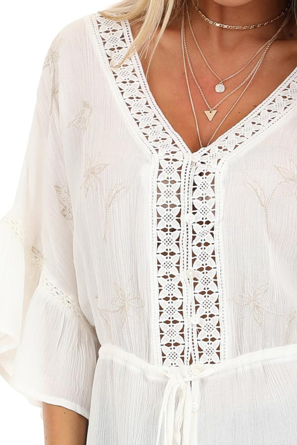 Pearl 3/4 Sleeve Peasant Top with Lace and Embroidery Detail detail