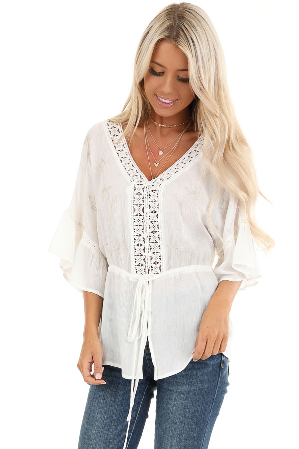 Pearl 3/4 Sleeve Peasant Top with Lace and Embroidery Detail front close up