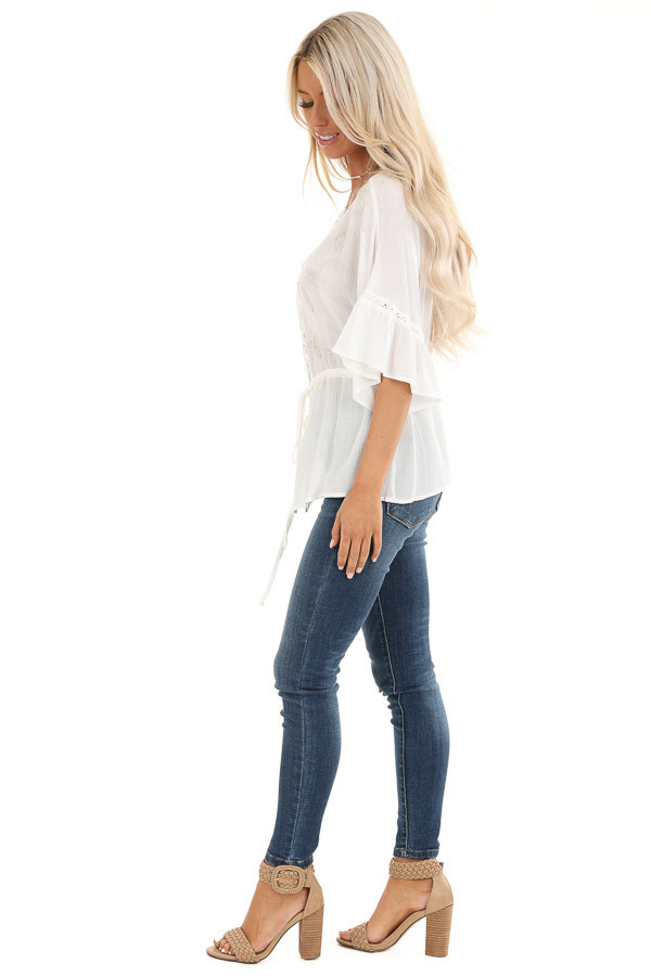 Pearl 3/4 Sleeve Peasant Top with Lace and Embroidery Detail side full body