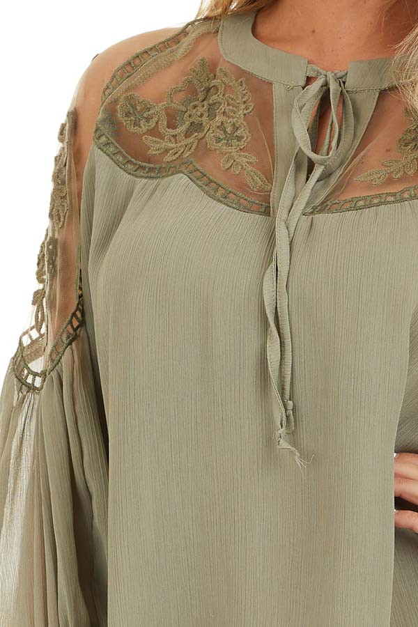 Dusty Pine Blouse with Sheer Lace Yoke and Tie Neckline detail