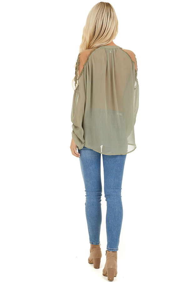Dusty Pine Blouse with Sheer Lace Yoke and Tie Neckline back full body