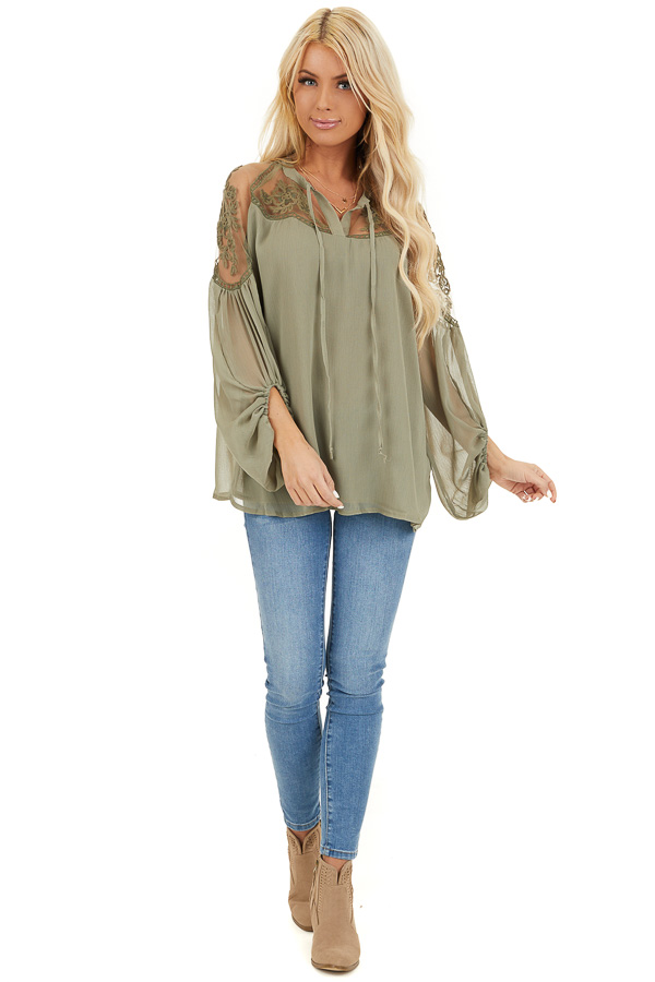 Dusty Pine Blouse with Sheer Lace Yoke and Tie Neckline front full body