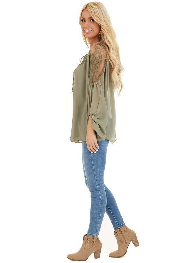 Dusty Pine Blouse with Sheer Lace Yoke and Tie Neckline side full body