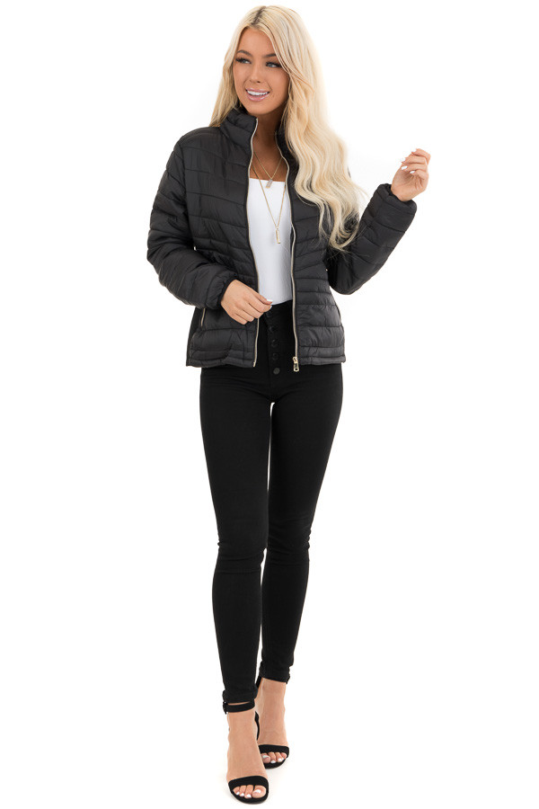 Jet Black Puffy Long Sleeve Jacket with Side Pockets front full body