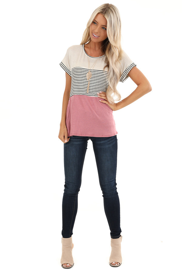 Mauve and Oatmeal Color Block Short Sleeve Top front full body