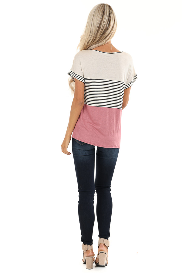 Mauve and Oatmeal Color Block Short Sleeve Top back full body