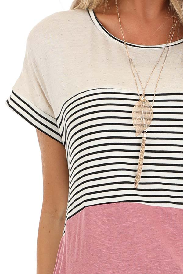 Mauve and Oatmeal Color Block Short Sleeve Top detail