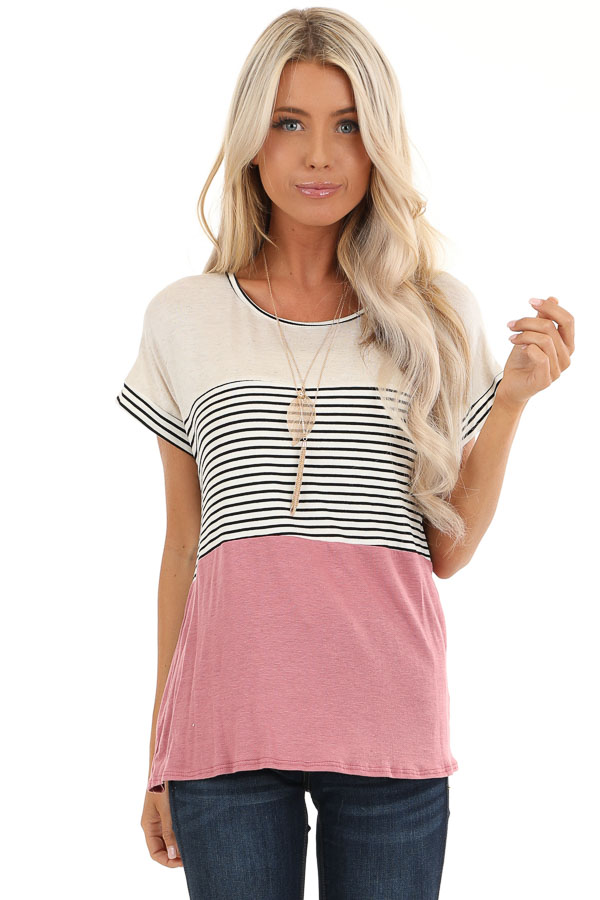 Mauve and Oatmeal Color Block Short Sleeve Top front close up