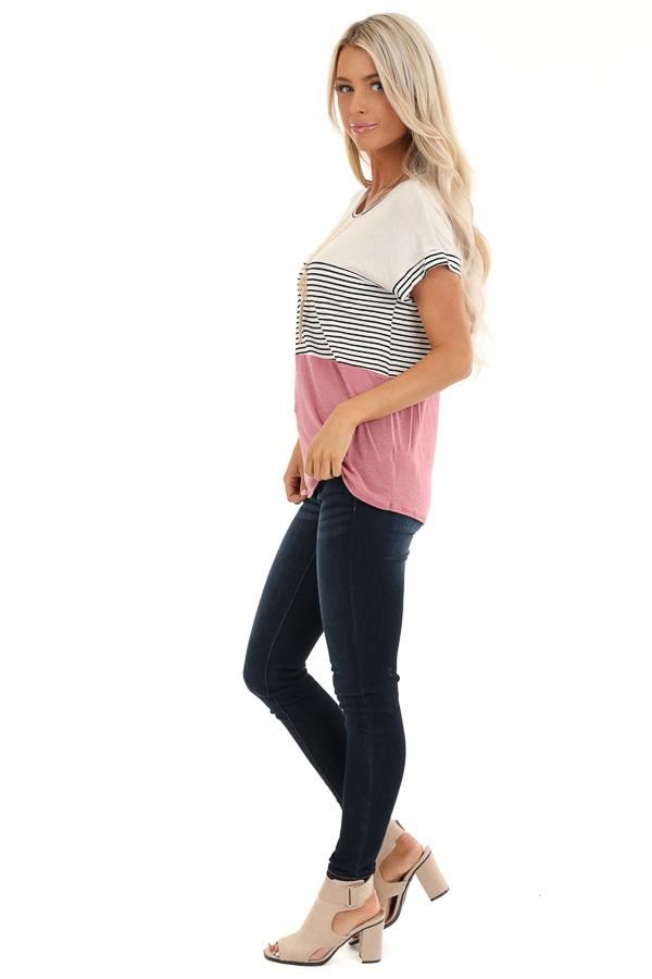 Mauve and Oatmeal Color Block Short Sleeve Top side full body