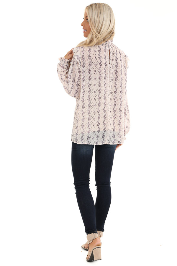 Cream and Lavender Patterned Long Sleeve Top with High Neck back full body