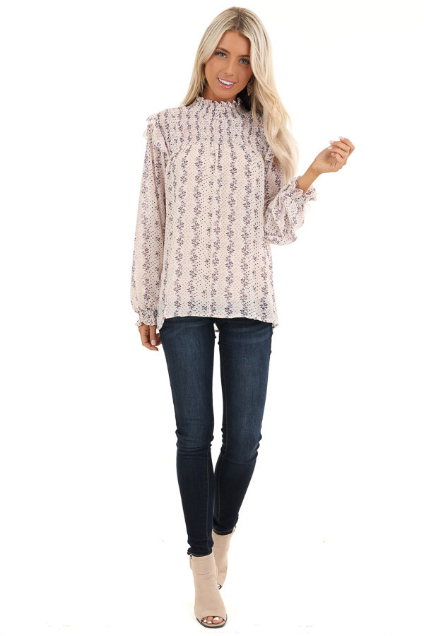 Cream and Lavender Patterned Long Sleeve Top with High Neck front full body