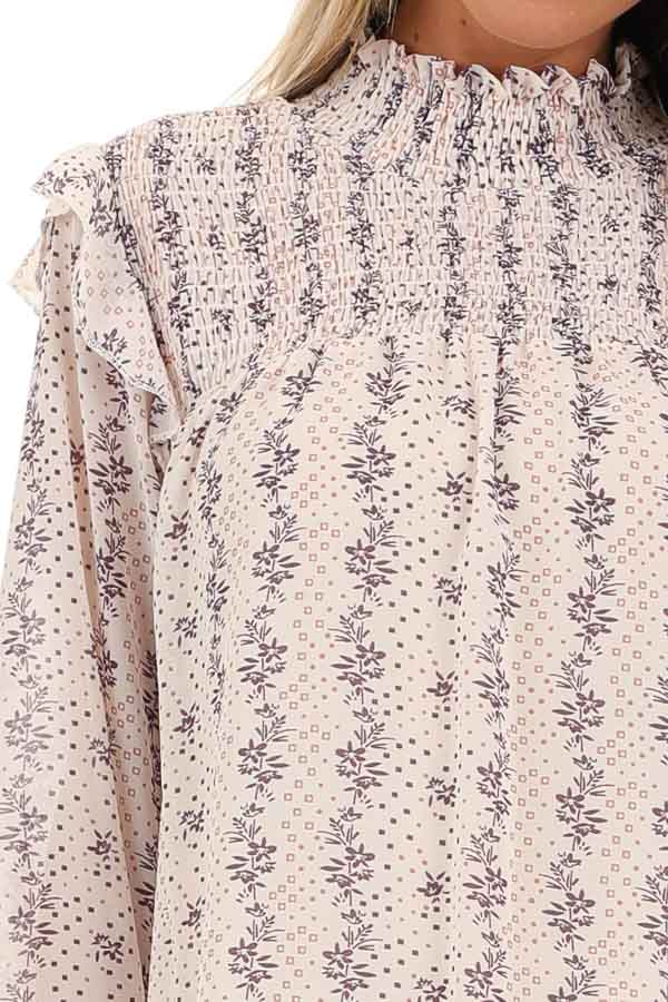 Cream and Lavender Patterned Long Sleeve Top with High Neck detail