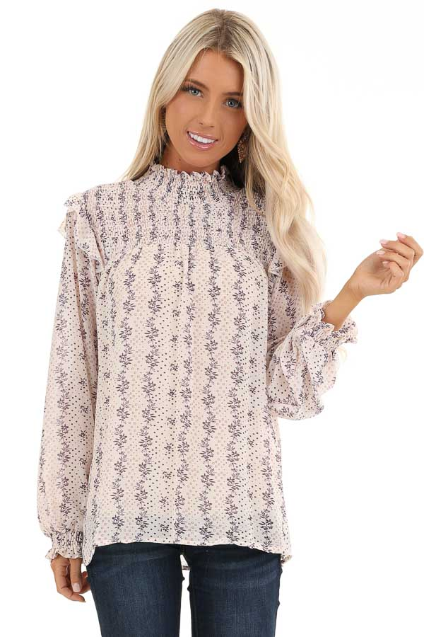 Cream and Lavender Patterned Long Sleeve Top with High Neck front close up
