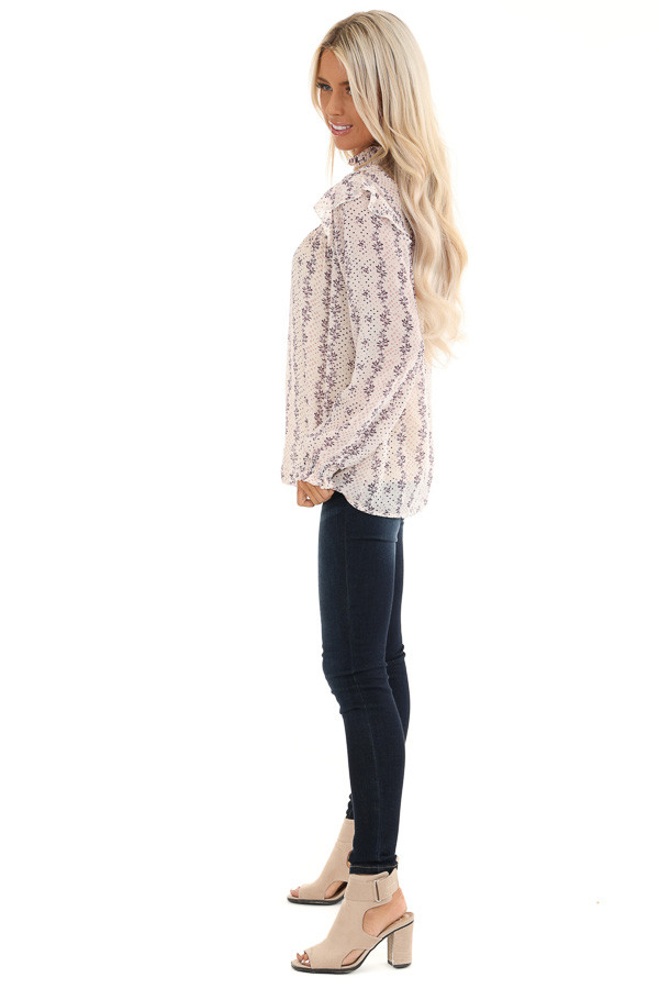 Cream and Lavender Patterned Long Sleeve Top with High Neck side full body