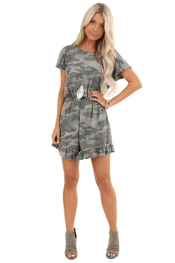 Antique Olive Camo Print Romper with Ruffle Trim Hemline front full body