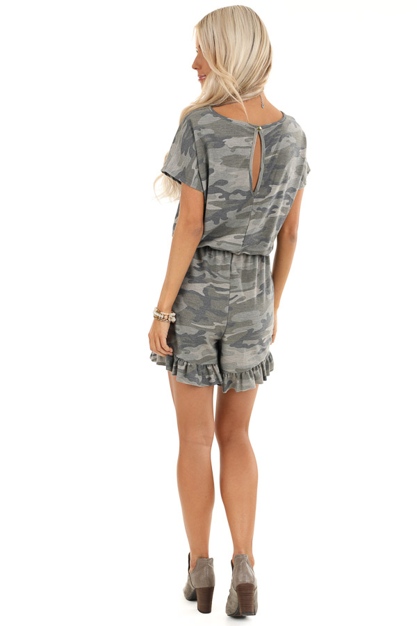 Antique Olive Camo Print Romper with Ruffle Trim Hemline back full body