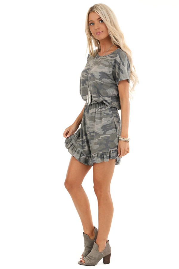 Antique Olive Camo Print Romper with Ruffle Trim Hemline side full body