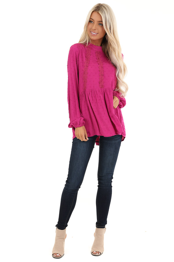 Magenta Long Sleeve Embroidered Top with Swiss Dot Details front full body