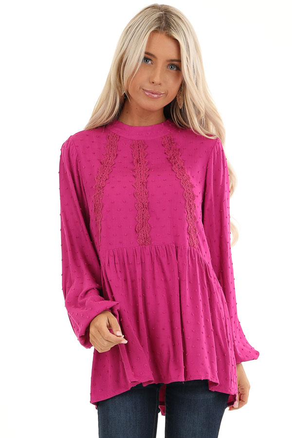 Magenta Long Sleeve Embroidered Top with Swiss Dot Details front close up