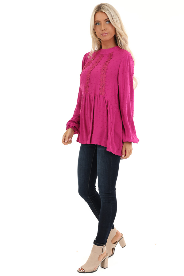 Magenta Long Sleeve Embroidered Top with Swiss Dot Details side full body