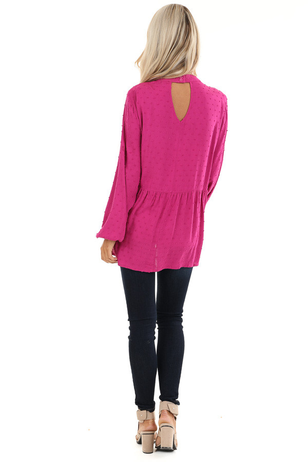 Magenta Long Sleeve Embroidered Top with Swiss Dot Details back full body