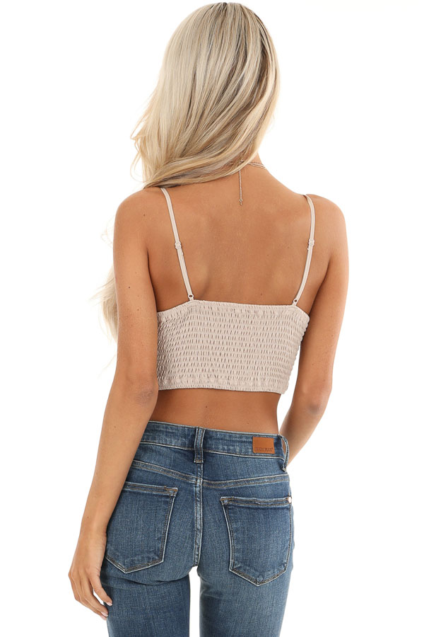 Light Taupe Crochet Lace Bralette with Scalloped Hemline back view