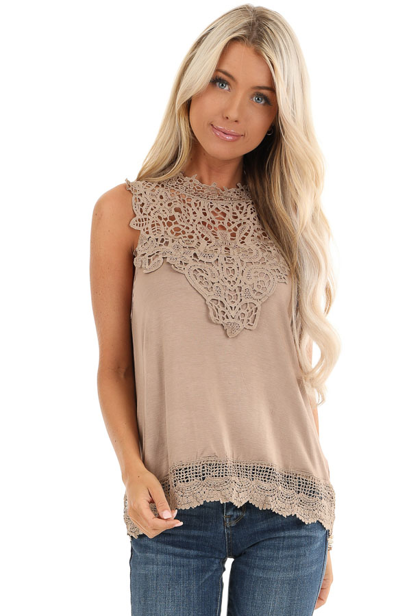 Tan Sleeveless Top with Crochet Overlay and Hemline front close up