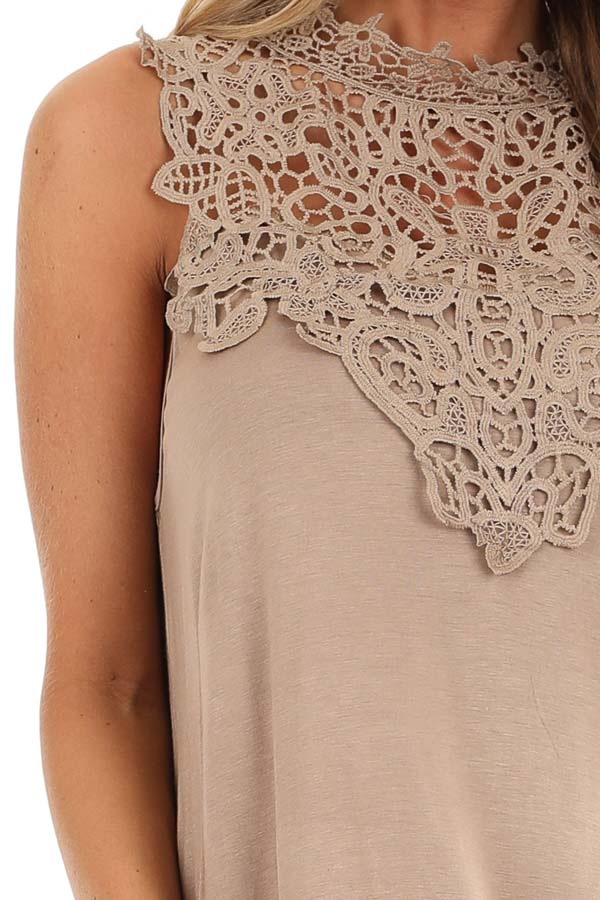 Tan Sleeveless Top with Crochet Overlay and Hemline detail