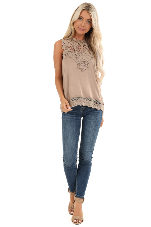 Tan Sleeveless Top with Crochet Overlay and Hemline front full body
