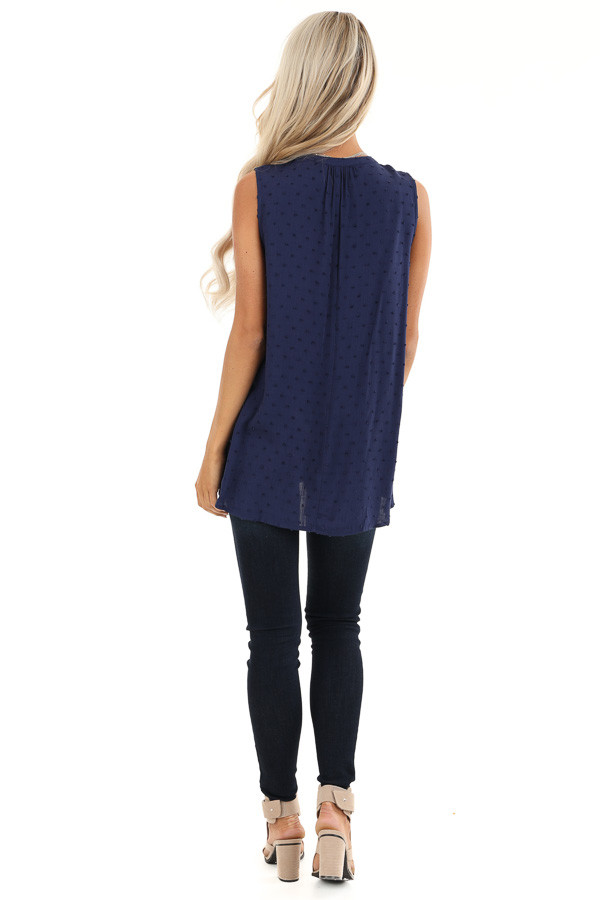 Midnight Blue Sleeveless Top with Lace and Swiss Dot Details back full body