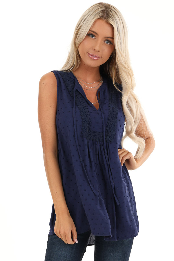 Midnight Blue Sleeveless Top with Lace and Swiss Dot Details front close up