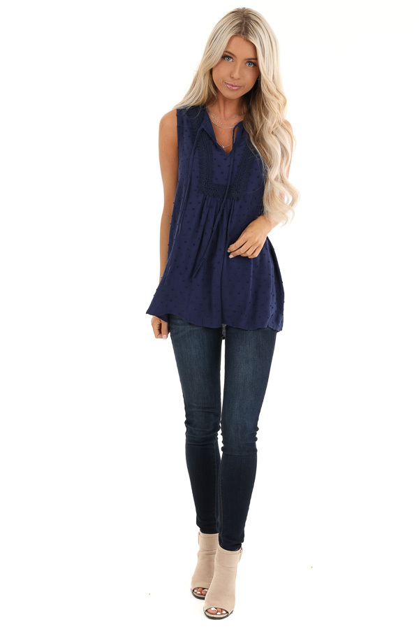 Midnight Blue Sleeveless Top with Lace and Swiss Dot Details front full body