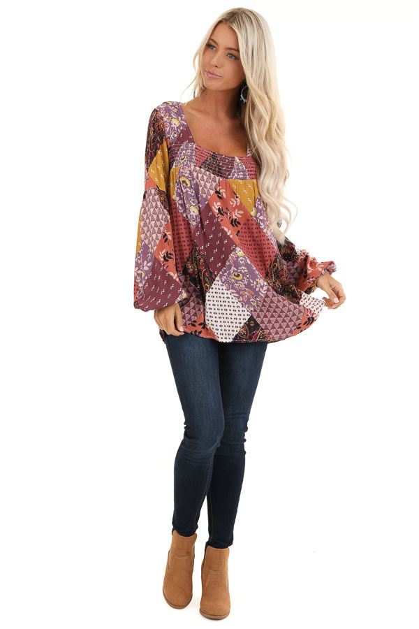 Burgundy Multicolor Patchwork Top with Long Sleeves front full body