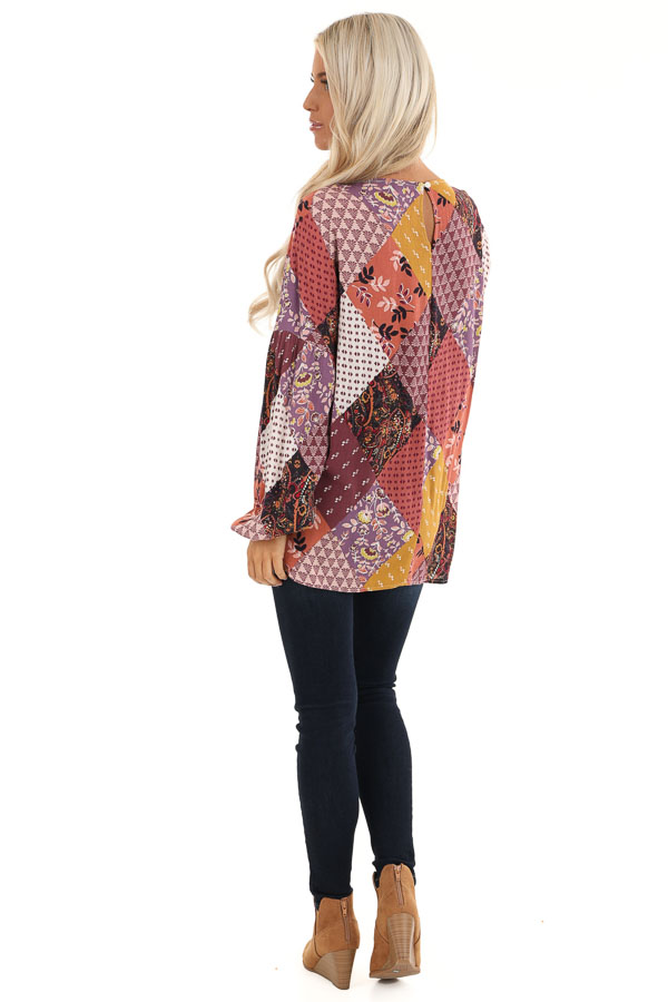 Burgundy Multicolor Patchwork Top with Long Sleeves back full body