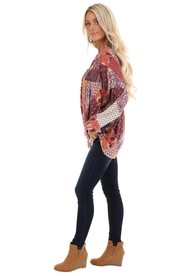 Burgundy Multicolor Patchwork Top with Long Sleeves side full body