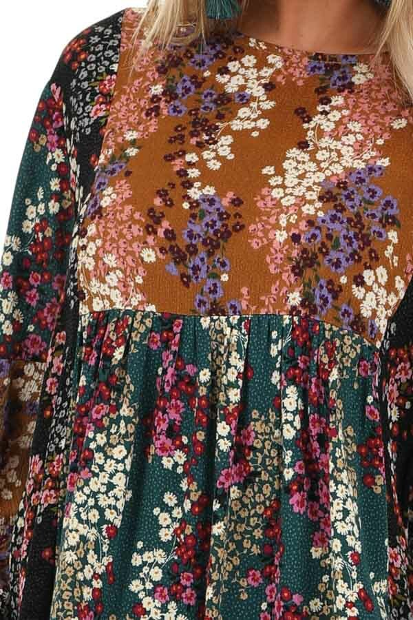 Ginger and Pine Multi Color Floral Long Sleeve Top detail